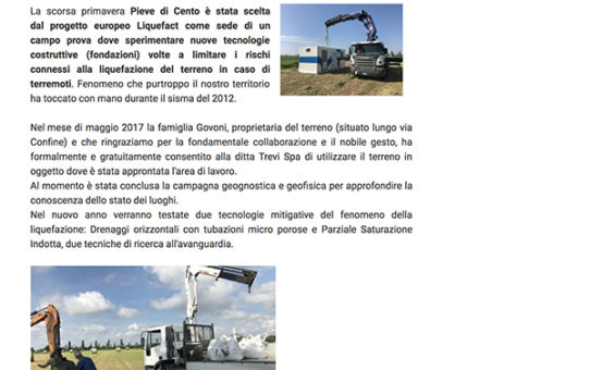 LiquefACT Project on Pieve di Cento Municipality website